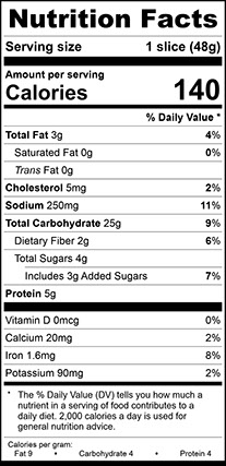 """Nutrition Facts for Wheat Vienna Narrow, Thick 3/4"""" Sliced"""