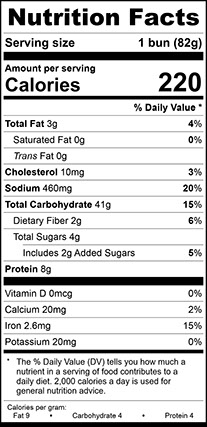 Nutrition Facts for Hickory Smoked Onion Bun Jumbo, Sliced