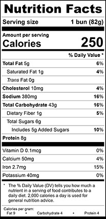 Nutrition Facts for Homestyle Bun Jumbo, Sliced