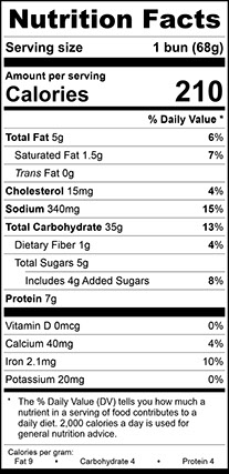 Nutrition Facts for Cheddar Topped Bun Large, Sliced